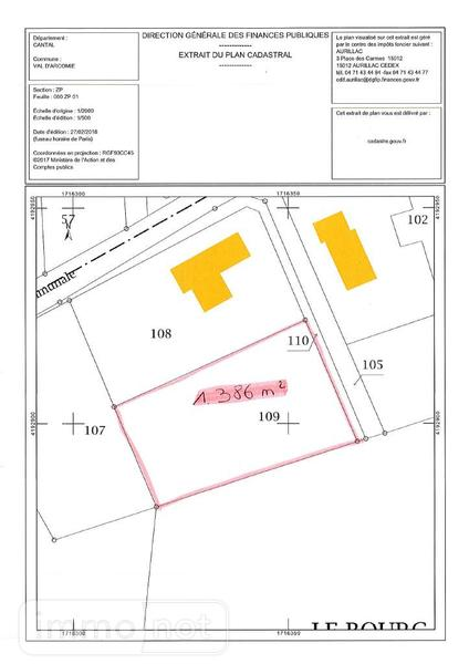 Terrain a batir a vendre Val-d'Arcomie 15320 Cantal 2774 m2