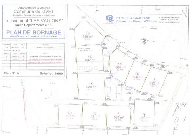 Terrain a batir a vendre Livet 53150 Mayenne 920 m2
