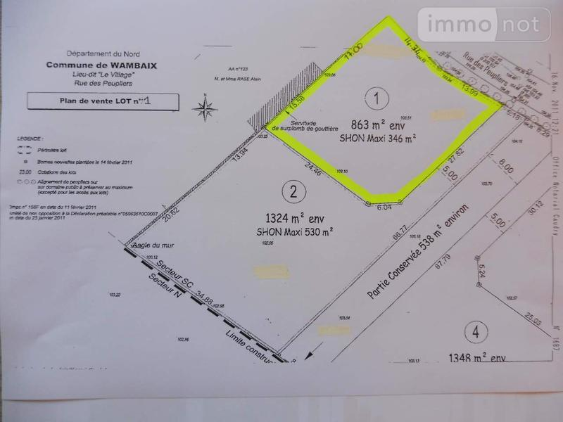 Terrain a batir a vendre Wambaix 59400 Nord 863 m2  64202 euros