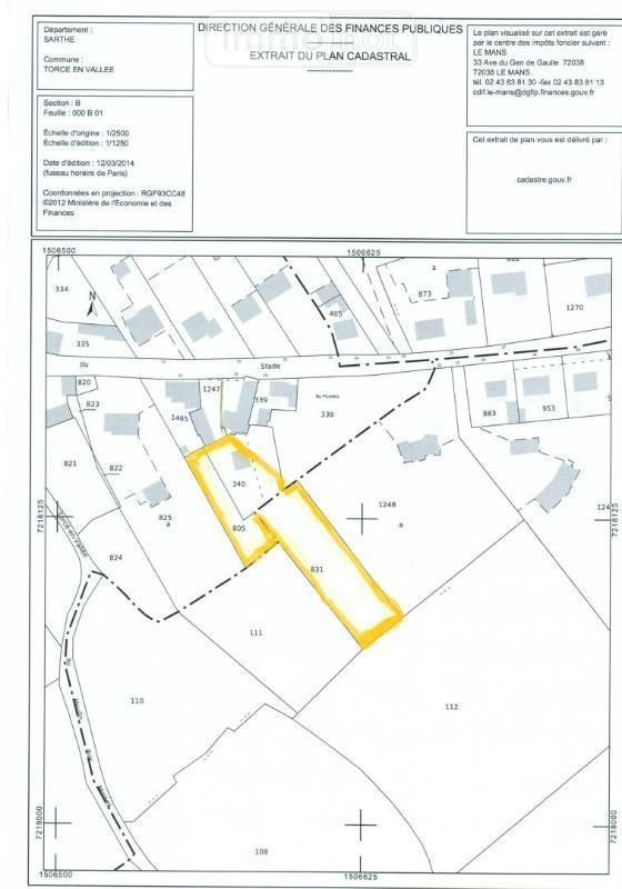Terrain a batir a vendre Torcé-en-Vallée 72110 Sarthe 2400 m2  31800 euros