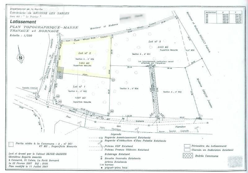 Terrain a batir a vendre Briosne-lès-Sables 72110 Sarthe  42400 euros