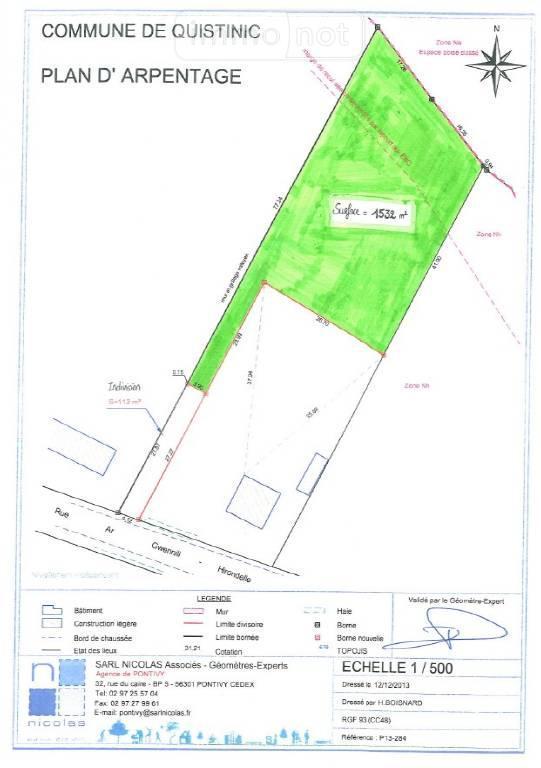 Terrain a batir a vendre Quistinic 56310 Morbihan 1532 m2  33390 euros