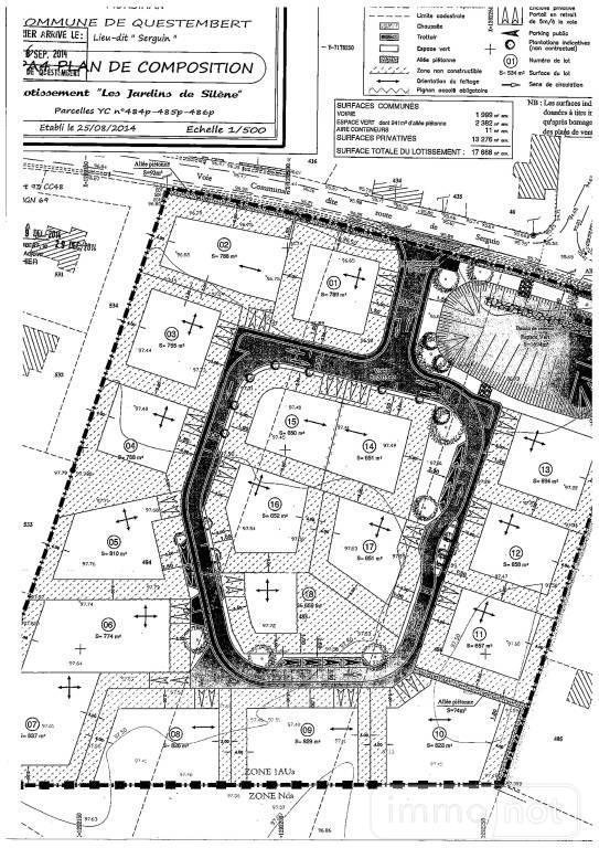 Terrain a batir a vendre Questembert 56230 Morbihan 650 m2  36200 euros
