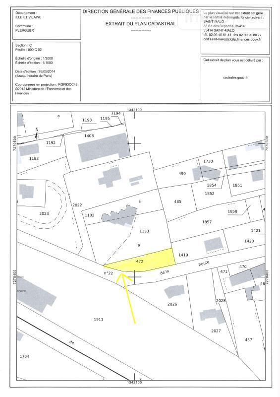 Terrain a batir a vendre Plerguer 35540 Ille-et-Vilaine 495 m2  36729 euros