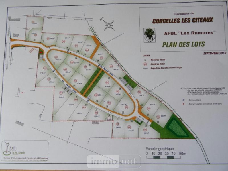 Terrain a batir a vendre Corcelles-lès-Cîteaux 21910 Cote-d'Or 584 m2  63700 euros