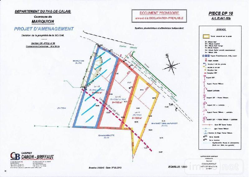 Terrain a batir a vendre Marquion 62860 Pas-de-Calais 1442 m2  59000 euros