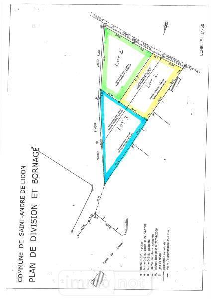 Terrain a batir a vendre Saint-André-de-Lidon 17260 Charente-Maritime 1223 m2  40280 euros