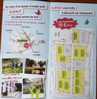Terrain a batir a vendre Illifaut 22230 Cotes-d'Armor 973 m2  15 euros