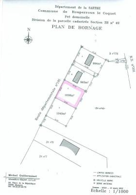 Terrain a batir a vendre Rouperroux-le-Coquet 72110 Sarthe  20140 euros